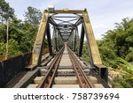 old railway bridge  with iron... | Shutterstock . vector #758739694