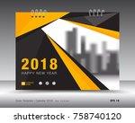 cover calendar 2018 template.... | Shutterstock .eps vector #758740120