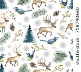 seamless christmas pattern with ... | Shutterstock . vector #758740660