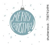 christmas card with hand drawn... | Shutterstock .eps vector #758741494