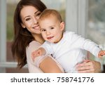 portrait of gorgeous young... | Shutterstock . vector #758741776
