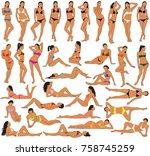 big set of vector bikini girls... | Shutterstock .eps vector #758745259