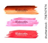 Abstract colorful watercolor stokes set vector