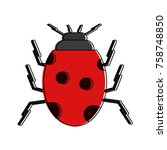 cute ladybug insect icon vector ... | Shutterstock .eps vector #758748850
