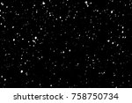 falling snow isolated on black... | Shutterstock . vector #758750734