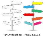 signpost  metal pointer  blank...   Shutterstock .eps vector #758753116