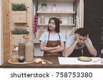 young white man in kitchen with ... | Shutterstock . vector #758753380
