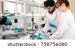 young students of chemistry... | Shutterstock . vector #758756080