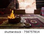 campfire in a bedouin tent in...   Shutterstock . vector #758757814