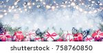 gift boxes in a row on fir... | Shutterstock . vector #758760850
