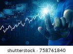 hand press stock graph | Shutterstock . vector #758761840