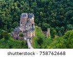 famous popular eltz castle  a... | Shutterstock . vector #758762668