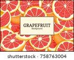 rectangular label on citrus... | Shutterstock .eps vector #758763004