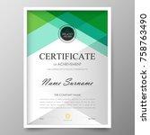 certificate premium template...   Shutterstock .eps vector #758763490