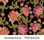 seamless pattern. golden... | Shutterstock . vector #758764216