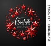 "calligraphic ""merry christmas""...   Shutterstock .eps vector #758764813"