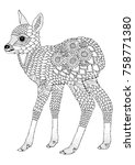 Cute Fawn. Hand Drawn Picture....
