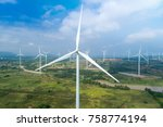 aerial view of wind turbines... | Shutterstock . vector #758774194