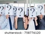 confused business team holding... | Shutterstock . vector #758776120