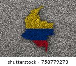 map and flag of colombia on... | Shutterstock . vector #758779273