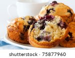 Plate of fresh blueberry muffins.  Soft focus. - stock photo