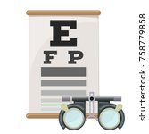 eye vision test and trial lens... | Shutterstock .eps vector #758779858