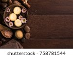 top view of candles with salt... | Shutterstock . vector #758781544