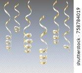 gold streamers. serpentine new... | Shutterstock .eps vector #758784019