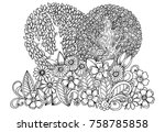 doodle drawing. flwers and... | Shutterstock . vector #758785858