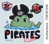 cute cartoon crocodile wearing... | Shutterstock .eps vector #758787340