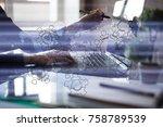 gears  mechanism design on... | Shutterstock . vector #758789539