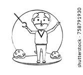 elderly man with a walking... | Shutterstock .eps vector #758791930