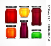 set of natural jam preserves... | Shutterstock .eps vector #758794603