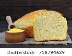 Stock photo cornbread and corn flour on wooden background 758794639