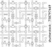 seamless pattern with pipes ... | Shutterstock .eps vector #758797669