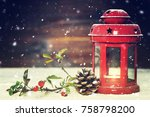 christmas card with christmas... | Shutterstock . vector #758798200