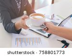 man working and drinking coffee ... | Shutterstock . vector #758801773