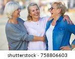 group of smiling senior women... | Shutterstock . vector #758806603