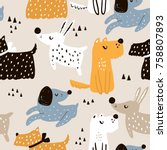 childish seamless pattern with... | Shutterstock .eps vector #758807893