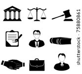 Law, legal and justice related symbols - stock vector