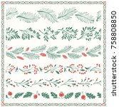 christmas floral freehand... | Shutterstock .eps vector #758808850