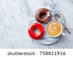 coffee with donuts on marble... | Shutterstock . vector #758811916