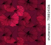 Vector Tropical Leaves On Red...