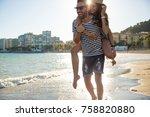 happy man giving his girlfriend ... | Shutterstock . vector #758820880