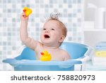 baby child taking bath  looking ... | Shutterstock . vector #758820973