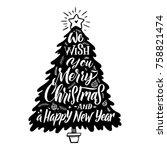 christmas tree silhouette....   Shutterstock .eps vector #758821474