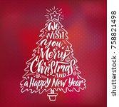christmas tree silhouette....   Shutterstock .eps vector #758821498