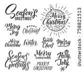 vector set of holidays... | Shutterstock .eps vector #758821513