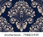 vector damask seamless pattern... | Shutterstock .eps vector #758821939
