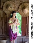 thai woman in thai national... | Shutterstock . vector #758825980